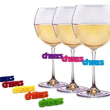 Wine Charms for Glasses  8 Unique Silicone Cheers Drink Markers or Tags  Perfect for Wine Martini Margarita and Champagne Glasses by Simply Charmed