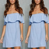 Summer Women's Fashion Blue Sexy Strapless One Piece Dress [6343423425]