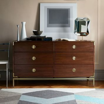 Malone Campaign 6-Drawer Dresser - Walnut