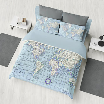 A Really Nice World Map Duvet Cover - Blue and white - bed - bedroom, travel decor, cozy soft, winter, warm, wanderlust
