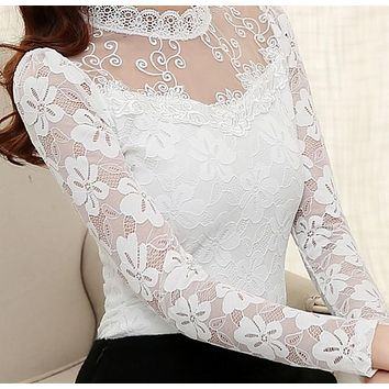 S-5XL Sexy Women clothing Hollow out Hook Floral lace blouse Plus size clothing Long sleeve Chiffon shirt Casual Women blouse