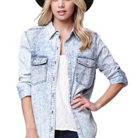 LA Hearts Button Front Pocket Shirt - Womens Shirts - Blue