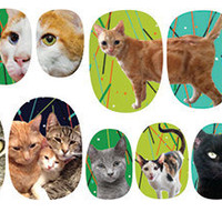City Kitties Cat Nail Decal Set- 5 Dollar Charitable Donation with Each Set Purchased