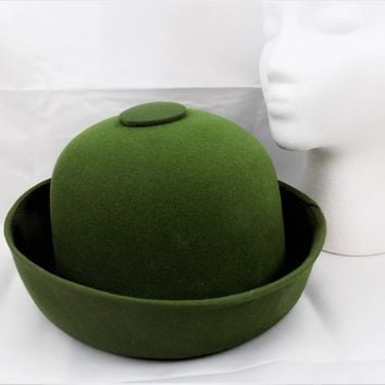 Neumann Endler Breton Hat, Shamrock Green, Woman's Hat, 100% Wool, Vintage Hats