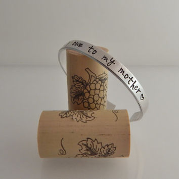 All that I am I owe to my mother / Hand Stamped Bracelet / Hand Stamped Mother Daughter bracelet / Mother's Day Gift / Gift for Mom