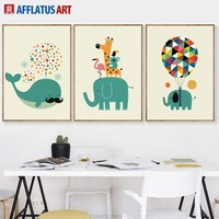 Cartoon Elephant Whale Koala Giraffe Balloon Wall Art Canvas Painting Nordic Posters And Prints Wall Pictures Kids Room Decor
