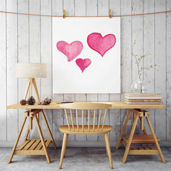 "Watercolor girls bedroom decor, Nursery art ""Watercolor Heart"" print Gift for Her Pink Nursery wall decor Printable wall art Pink girls"
