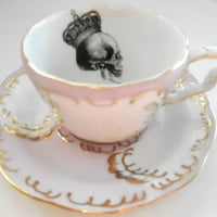 Pink and Gold Skull Tea Set, also available in Blue or Green