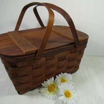 Primitive Wooden Woven BasketVille Vermont Picnic Hamper with Two Handles - Vintage BoHo Shabby Rustic Dark Wood Basket with Plank Lift Lid