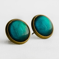 Teal Pine Post Earrings in Antique Bronze - Teal Green Color Shifting Stud Earrings