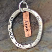 Do Small Things with Great Love Mother Teresa Quote Pure Silver and Copper Necklace