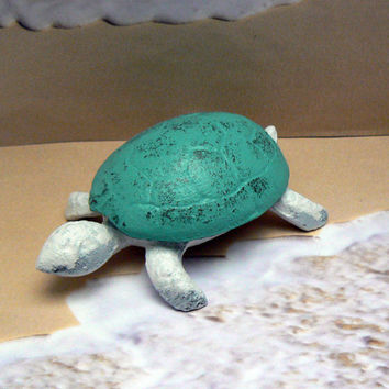 Turtle Trinket Keepsake Holder Cast Iron Turquoise Aqua White Distressed Home Decor Shabby Cottage Chic Beach Nautical Sea Turtle