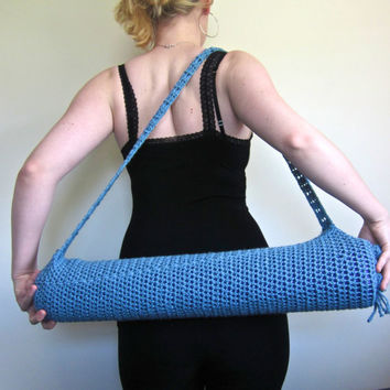 Crochet Yoga Mat Bag in Cool Blue by SalemStyle on Etsy