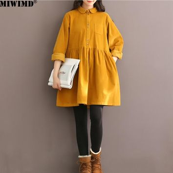 MIWIMD Hot Sale New 2018 Fashion Women Autumn Winter Solid Color Long Sleeved Casual Loose Corduroy Pleated Dresses Big Size