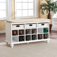White Shoe Rack With  Storage Bench And Seat