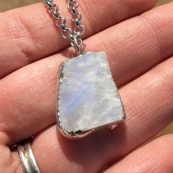 Raw Rough Rainbow Moonstone Necklace (#9)