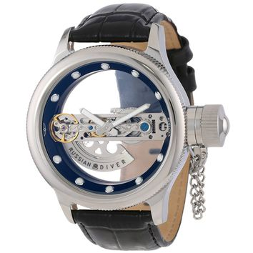 Invicta 14212 Men's Russian Diver Transparent Skeleton Dial Black Leather Strap Automatic Watch