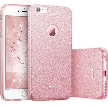 ONETOW iPhone 6 Case, iPhone 6S Case, ESR Luxury Glitter Sparkle Bling Designer Case [Slim Fit, Hard Back Cover] Shining Fashion Style for Apple iPhone 6/6s 4.7' (Rose Gold)