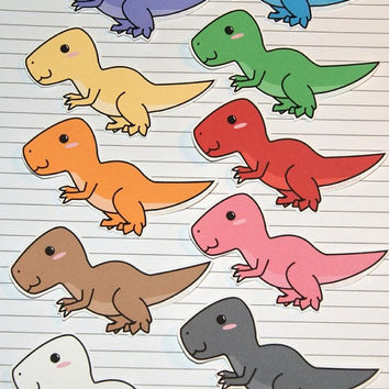 Chibi Tyrannosaurus Rex Stickers and Magnets