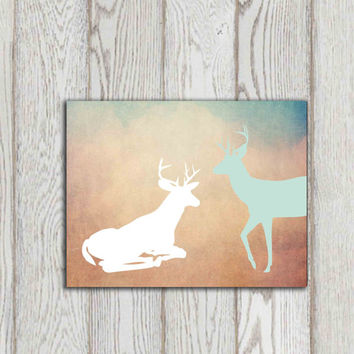 Deer printable art Deer copper print Teal green brown turquoise Wall decor Home decor Bedroom art Woodland animal Hunting INSTANT DOWNLOAD