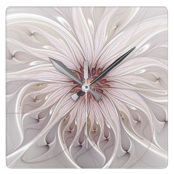 Floral Fantasy Abstract Fractal Art Square Wall Clock