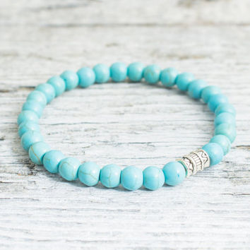 Turquoise beaded stretchy bracelet, made to order yoga bracelet, womens bracelet, mens bracelet