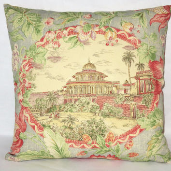 "Oasis Toile Pillow, Pink Green Blue Ivory, Scenic Palace and Floral, 17"" Square Cotton, Zipper Cover Only or Insert Included, Ready to Ship"