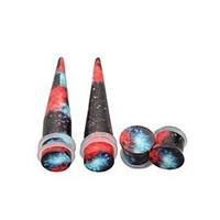 Morbid Metals Orange Blue Galaxy Plug And Taper 4 Pack - 386532