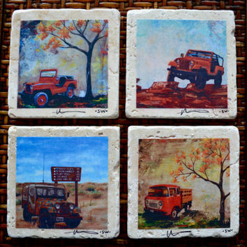 Fine Art Coasters, set of 4 Jeeps, drink coaster, travertine, stone, jeep, willys, fc-150, CJ, distressed, car, truck