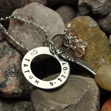 Personalized Necklace Hand Stamped Baby Name by TatumBradleyCo