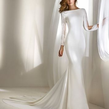 Atelier Pronovias Relato Beaded Long Sleeve Mermaid Gown (In Selected Stores Only) | Nordstrom