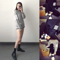 New Autumn Long Sleeve Pullover Casual Women Stripe Hoody Sweater