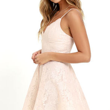 Keepsake Sundream Blush Lace Skater Dress