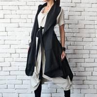NEW Black Loose Tunic Top/Asymmetric Loose Vest/Sleeveless Linen Shirt/Casual Maxi Tunic/Extravagant Back Accent Top/Plus Size Long Top