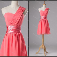Watermelon chiffon Short homecoming dress one shoulder with sashes lace up back cocktail dress