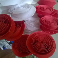 bouquet of Red & white roses 12 flowers Spiral Paper flower table Centerpiece Rolled paper roses one dozen Cardstock flowers on wire stems