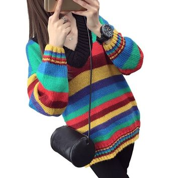 [15650] Medium Length Striped Slimming Knit Sweater
