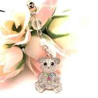 Multi Bear Cell Phone Charm Strap Cubic Stone