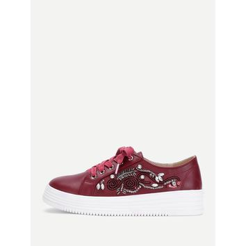 Burgundy Lace Up Round Toe Sneakers
