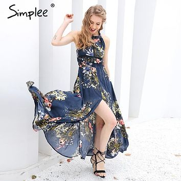 Simplee Lace up halter floral long dress Women 2017 summer chic backless evening party maxi dress Hollow out sexy dress vestidos