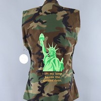 Statue of Liberty Embroidered Camo US Army Vest / I Lift My Lamp Beside the Golden Door / #Resist