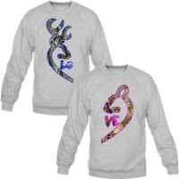 Browning Deer Love Couple real tree Crewneck Sweatshirt