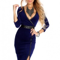 Royal Blue Slit Side Sexy Party Dress