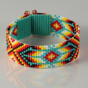 Native American Style Bead Loom Bracelet Multicolored Artisa