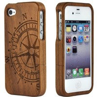 SunSmart(TM) Unique Handmade Natural Wood Wooden Hard bamboo Case Cover for iPhone 4 4s(Walnut Compass)