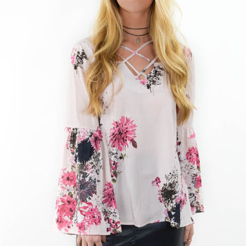 Caribbean Way Rose Floral Print Blouse