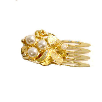 Vintage 1960's Hair Comb Barrette, Wedding or Prom, Gold Tone, Faux Pearls, Victorian Revival, Dainty Feminine, VisionsOfOlde