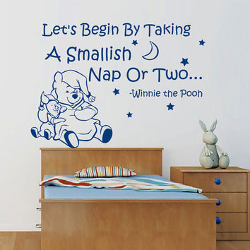 Winnie The Pooh Wall Decals Quote Piglet Stars Moon Interior Design Vinyl Decal Sticker Art Mural Baby Kids Nursery Room Bedding Decor MR346