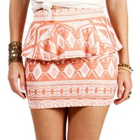 SALE-Coral/White Peplum Tribal Skirt