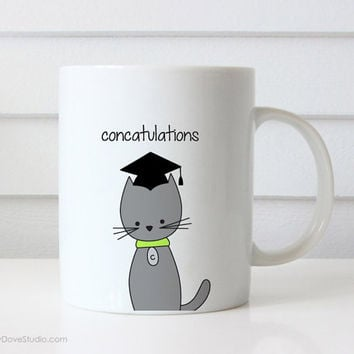 Funny Coffee Mug Graduation Congratulations Congrats Grad Pun Cat Concatulations Quote Mugs Cute Fun Graduating Gifts For Her Him Friend